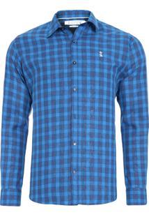 Camisa Masculina Quadros Linho - Azul
