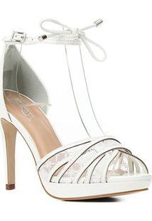 Sandália Couro Shoestock Bride Salto Alto Bordada Feminina - Feminino-Branco