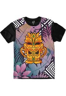 Camiseta Long Beach Totem Floral Ouro Sublimada Colors Masculina - Masculino-Preto