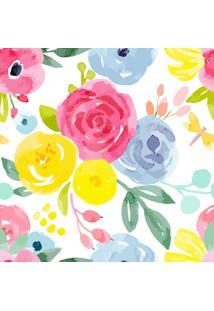 Papel De Parede Floral Aquarela P/ Quarto Feminino 57X270Cm - Tricae
