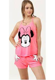 Pijama Feminino Estampa Minnie Neon Alças Finas Disney