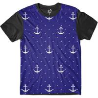 Camiseta Long Beach Náutica Âncora E Poa Sublimada Masculina - Masculino- Azul+Preto c17f937bae5