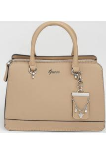 Bolsa Transversal Com Bag Charm- Bege- 21,5X29X12Cm