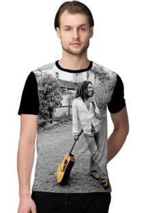 Camiseta Stompy Bob Smile Masculino - Masculino-Preto+Branco