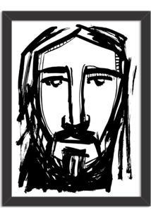 Quadro Decorativo Religião Rosto Do Rei Cristo Preto - Médio
