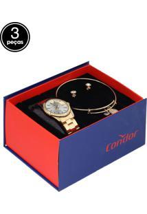 Kit 3Pçs Relógio Condor Co2035Ezq/K4K Dourado