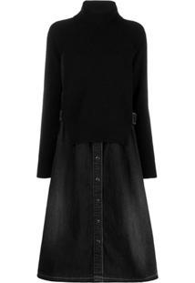 Sacai Two Part Dress - Preto