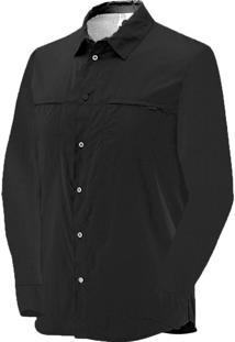 Camisa Manga Longa Salomon Strech Masculino G Preto