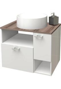 Gabinete Para Banheiro Em Mdf Iara 59,5X47,8Cm Branco E Tamarindo
