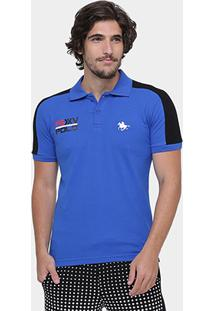Camisa Polo Rg 518 Piquet Recorte Bordado Psxv - Masculino-Azul Royal