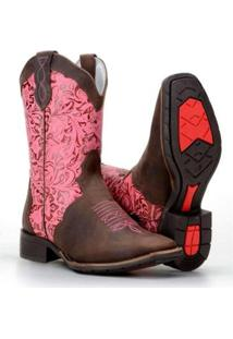 Bota Country Capelli Texana Montaria Estampada Couro Feminina - Feminino-Marrom+Rosa