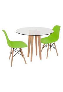 Conjunto Mesa De Jantar Em Vidro 90Cm Com Base Vértice + 2 Cadeiras Eiffel - Verde