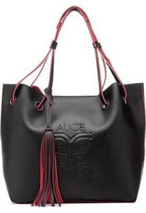 Bolsa Saco Lisboa Alice Monteiro - Feminino-Preto+Vermelho