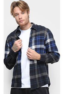 Camisa Ellus Connect Wool Xadrez Manga Longa Masculina - Masculino-Azul Royal