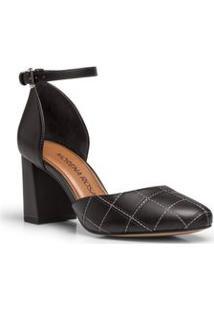 Sapato Salto Medio Bordado Preto