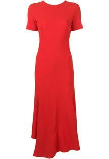 Victoria Beckham Vestido Midi Assimétrico Com Decote Em V Posterior - Vermelho