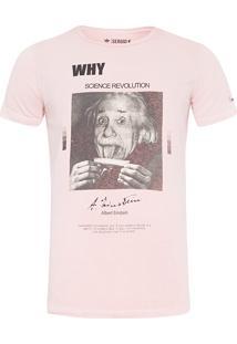 Camiseta Masculina Einsten - Rosa