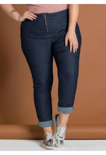 Calça Em Jeans Azul Escuro Plus Size Marguerite