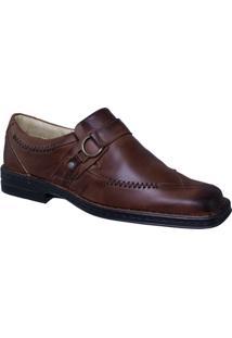 Sapato Couro Anti-Stress Riber Shoes Fivela Masculino - Masculino
