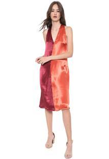 Vestido Calvin Klein Jeans Midi Cetim Tricolor Vermelho/Laranja