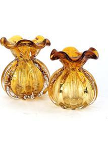 Kit Vasos De Murano - Trouxinhas De Cristal ÂMbar (2 Peã§As) - Laranja - Dafiti