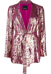Pinko Blazer Longo Com Cinto - Rosa