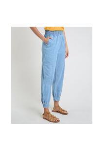 Calça Jeans Feminina Jogger Clochard Cintura Alta Com Bolsos Azul Claro
