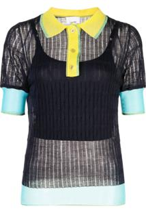 I-Am-Chen Blusa Polo Com Recortes De Seda - Azul