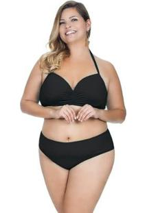 Calcinha Plus Size Básica Agridoce Feminina - Feminino-Preto