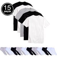 1e95b276957 Kit 5 Camisetas Básicas Masculina T-Shirt Algodão 10 Pares De Meias Soquete  Colors