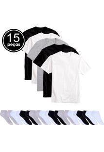 Kit 5 Camisetas Básicas Masculina T-Shirt Algodão 10 Pares De Meias Soquete Colors