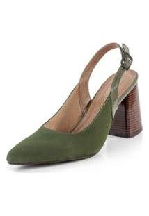 Scarpin Bendito Conforto Nobuck Militar Feminino - Feminino-Verde
