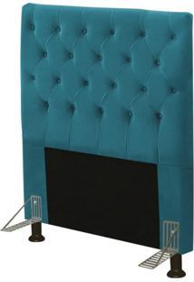 Cabeceira Cama Box Solteiro 90Cm Cristal Suede Azul - Js Móveis