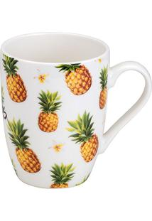 Caneca De Porcelana Be A 330Ml Pineapple - Bon Gourmet - Branco
