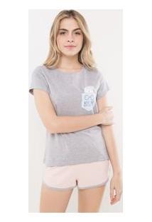 Pijama Manga Curta Com Estampa De Coruja