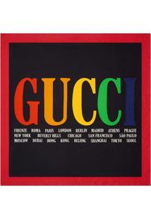 Gucci Lenço De Seda Com Estampa 'Gucci Cities' - Preto