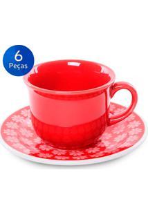 Conjunto De Xícaras Para Chá C/ Pires 6 Peças Floreal Renda - Oxford - Vermelho
