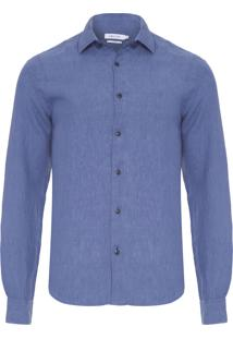 Camisa Masculina Linho Resort - Azul