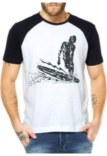 Camiseta Raglan Criativa Urbana Surf Long Board - Masculino-Branco