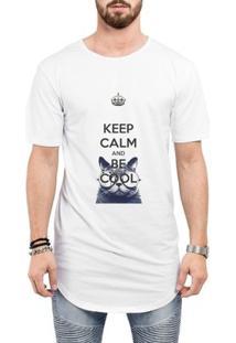 Camiseta Criativa Urbana Long Line Oversized Keep Calm And Be Cool Gato - Masculino-Branco