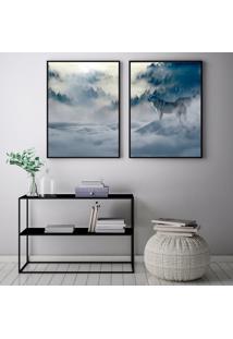 Quadro Oppen House 70X100Cm Lobo Husk Siberiano Na Neve Decorativo Interiores Sala De Estar Quartos Moldura Preta Com Vidro