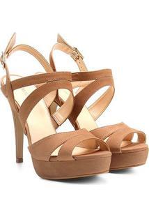 Sandália Couro Shoestock Meia Pata Nobuck Feminina - Feminino-Nude