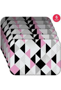Jogo Americano Love Decor Wevans Triângulos Kit Com 6 Pçs