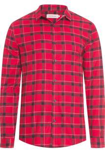 Camisa Masculina Xadrez Flanela - Vermelho