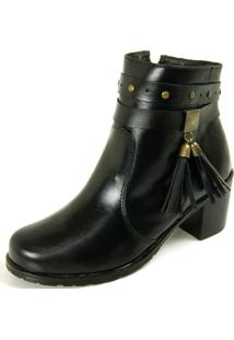 Bota Dhatz Ankle Boot Com Fivela Não Possui Cadarço Preto