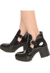 Bota Cut Out Dafiti Shoes Fivela Preta