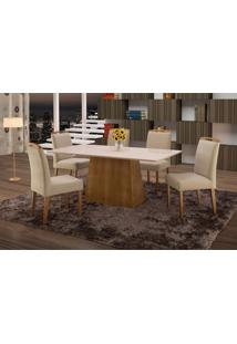 Conjunto De Mesa De Jantar Com 6 Cadeiras E Tampo De Madeira Maciça Turquia I Suede Marrom Claro E Off White
