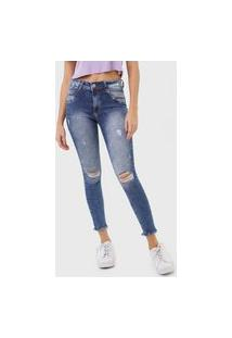 Calça Cropped Jeans Biotipo Skinny Destroyed Azul
