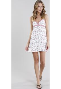 Camisola Feminina Estampada Floral Com Renda Alça Branca