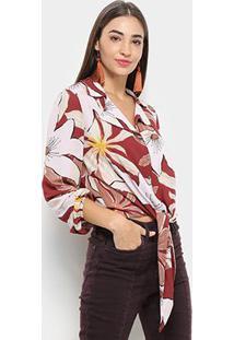 Camisa Morena Rosa Manga Longa Florida Amarração Feminina - Feminino-Vermelho+Rosa
